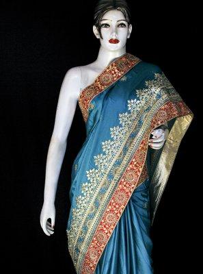 Satin Blue Embroidered Designer Saree