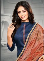 Satin Blue Embroidered Trendy Straight Salwar Suit