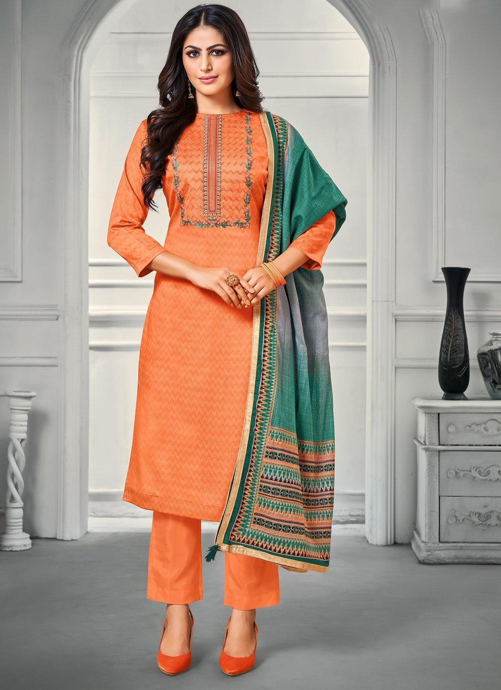 Satin Bollywood Salwar Kameez in Orange