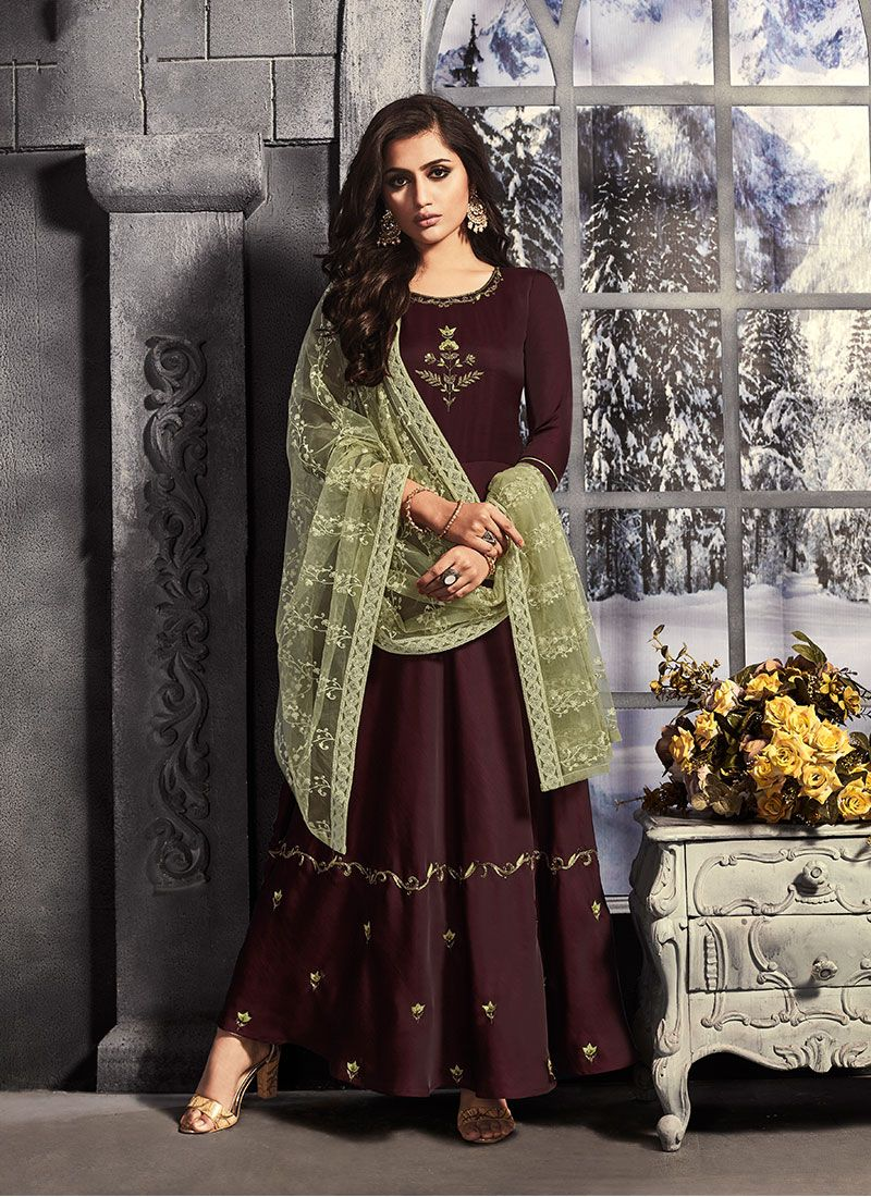 Satin Brown Embroidered Trendy Anarkali Salwar Suit