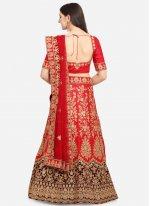 Satin Designer Lehenga Saree in Red