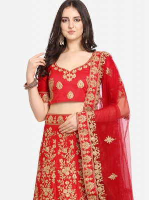 Satin Designer Lehenga Saree in Red