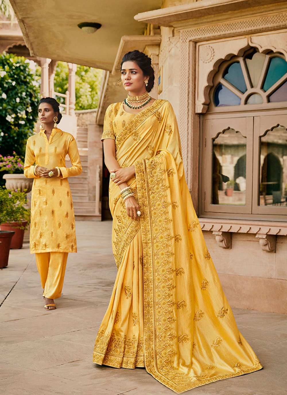 Satin Designer Traditional Saree in Yellow