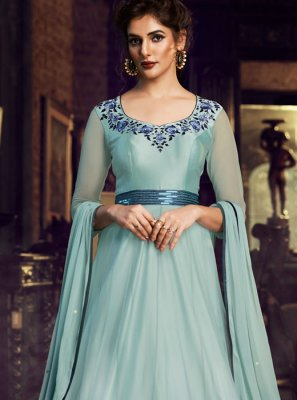 Satin Embroidered Blue Designer Gown