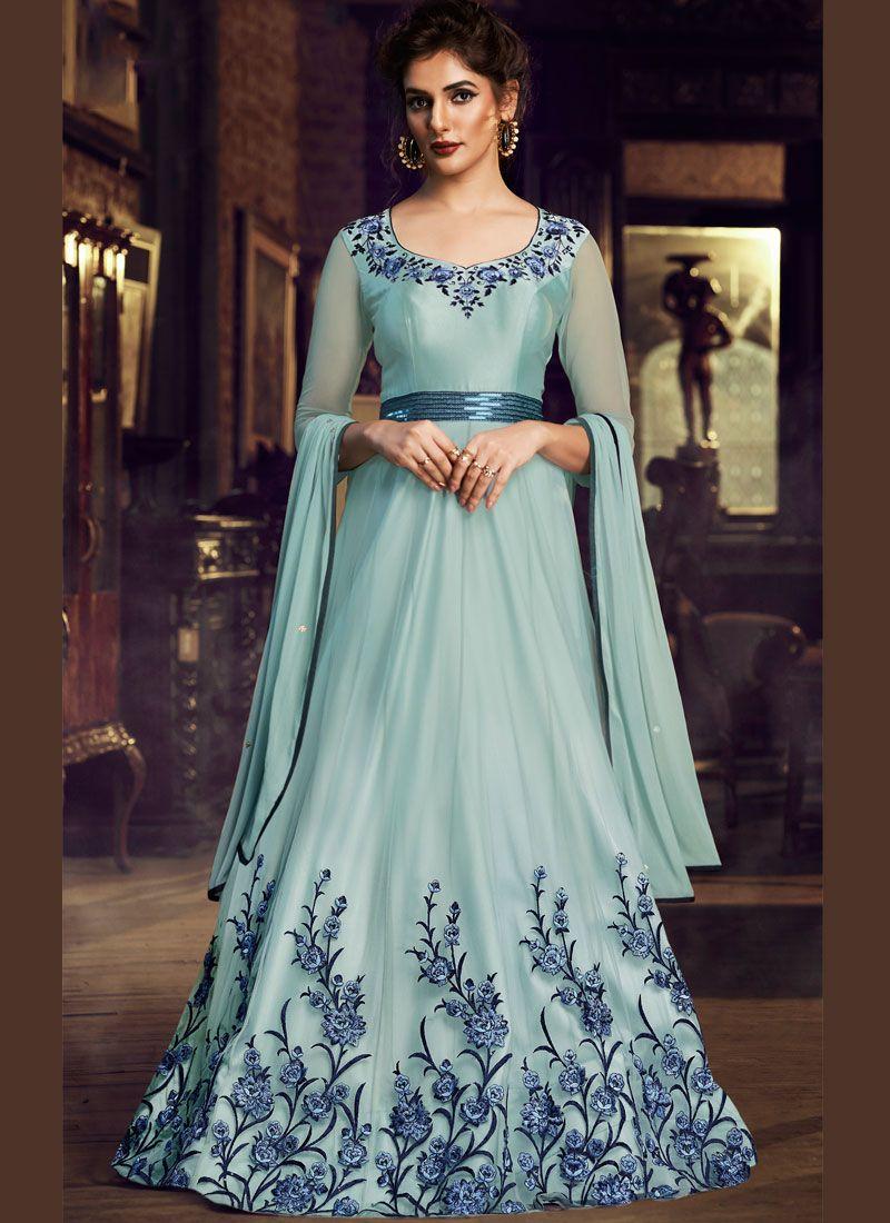 Satin Embroidered Blue Designer Gown