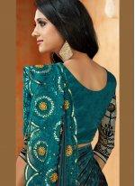 Satin Embroidered Blue Designer Saree
