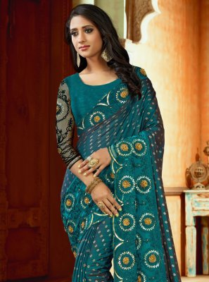 Satin Embroidered Blue Designer Saree