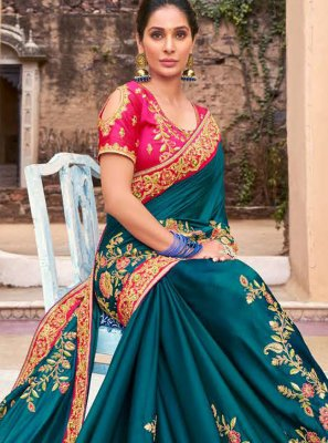 Satin Embroidered Classic Designer Saree