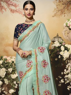 Satin Embroidered Contemporary Saree