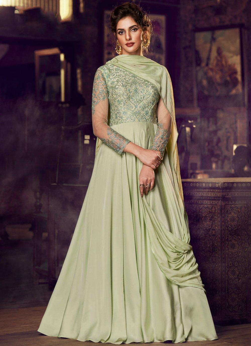 Satin Embroidered Designer Gown