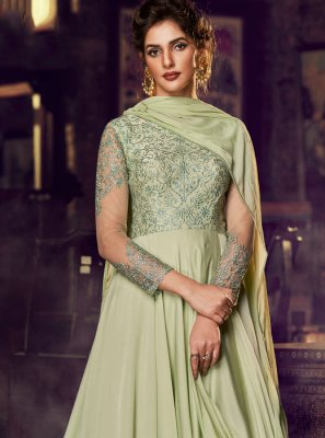 Satin Embroidered Designer Gown