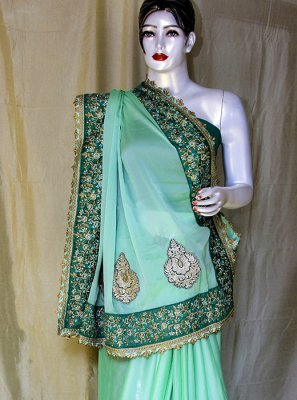 Satin Embroidered Green Designer Saree