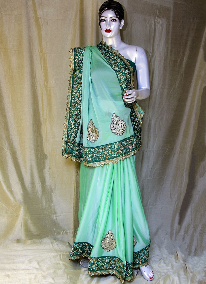 Satin Embroidered Green Designer Saree
