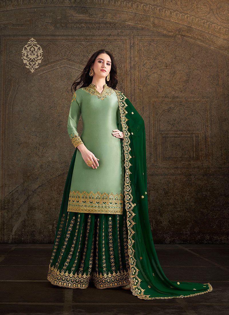 Satin Embroidered Green Salwar Suit