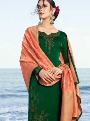 Satin Embroidered Green Salwar Suit
