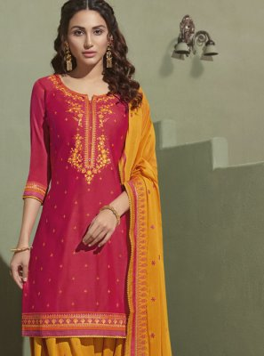 Satin Embroidered Pink Salwar Suit