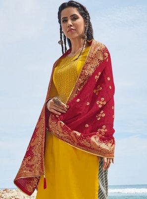 Satin Embroidered Yellow Salwar Kameez