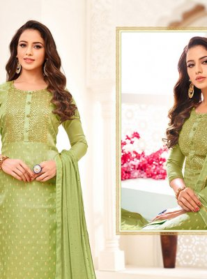 Satin Green Churidar Suit