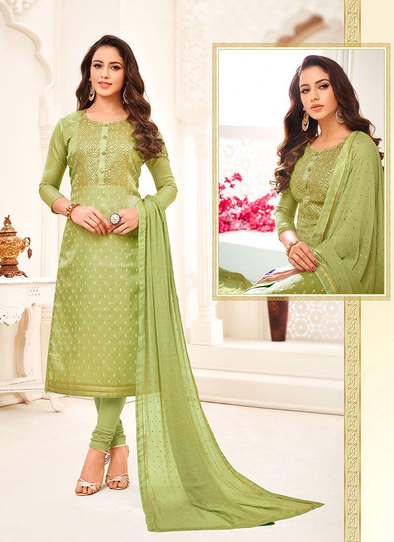 Satin Green Churidar Suit