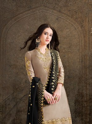 Satin Grey Embroidered Salwar Suit