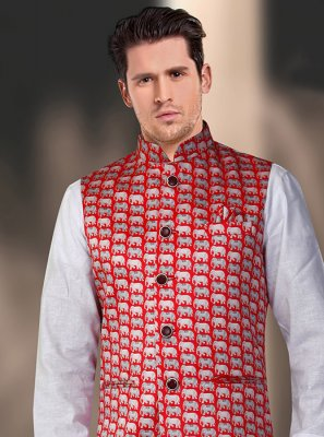 Satin Machine Embroidery  Nehru Jackets in Red