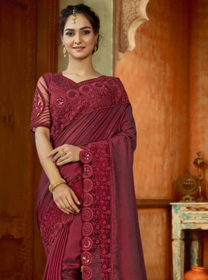 Satin Maroon Contemporary Saree