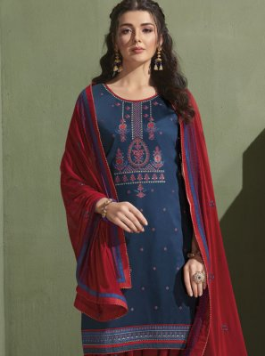Satin Patiala Suit in Blue