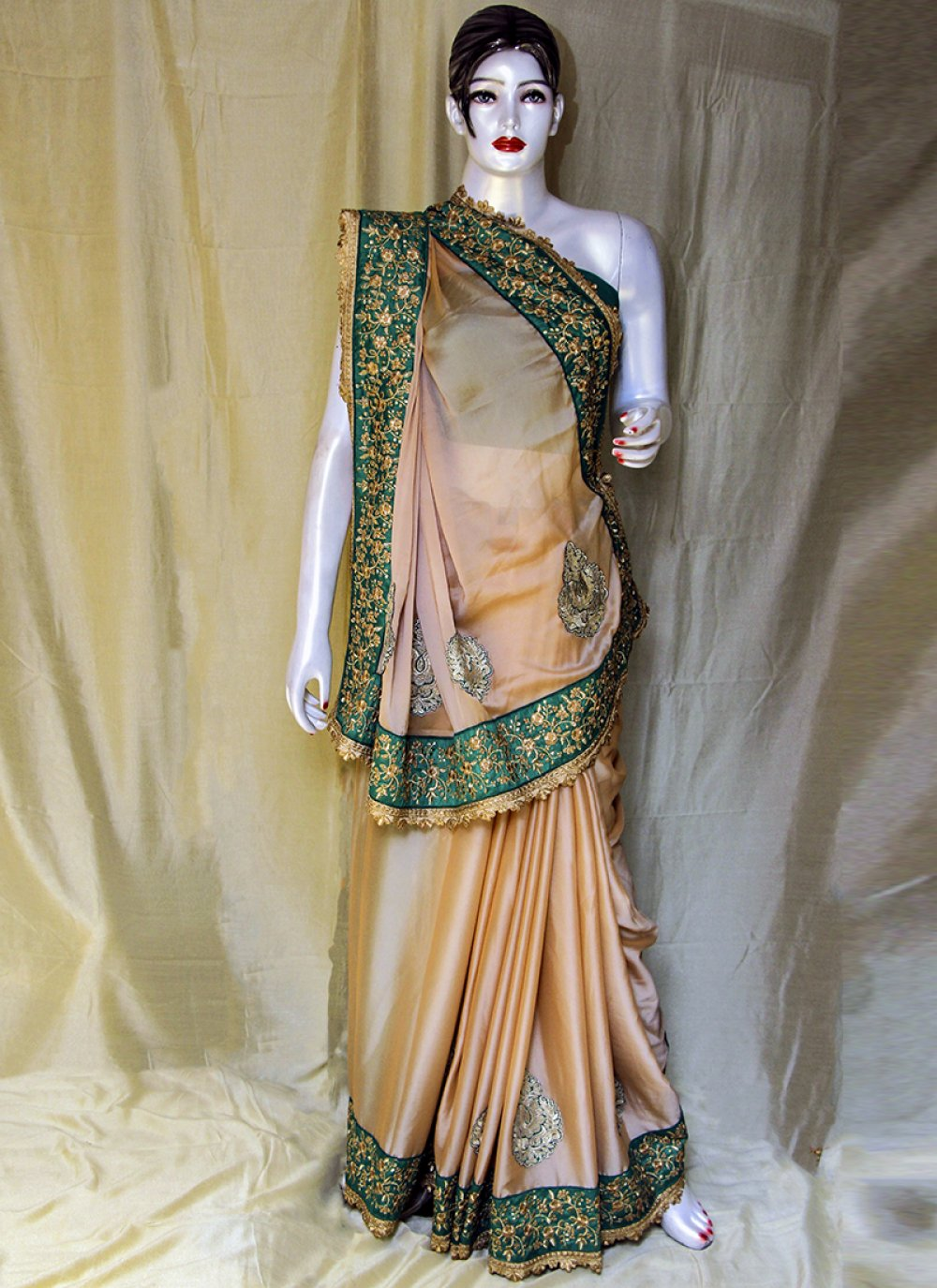 Satin Peach Designer Saree