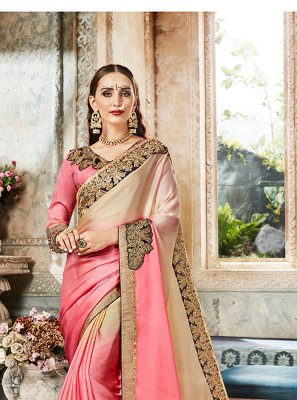 Satin Pink Designer Saree