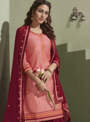 Satin Pink Patiala Salwar Suit