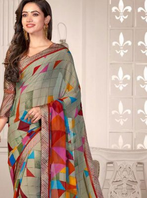 Satin Printed Saree in Multi Colour