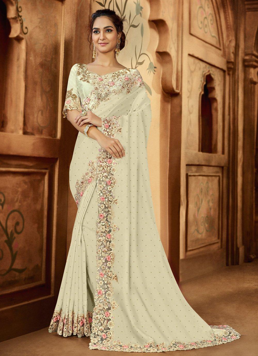 Satin Resham Off White Designer Saree