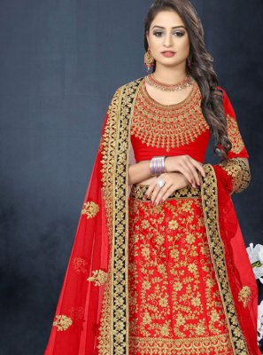 Satin Resham Red A Line Lehenga Choli