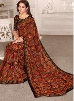 Satin Saree in Multi Colour