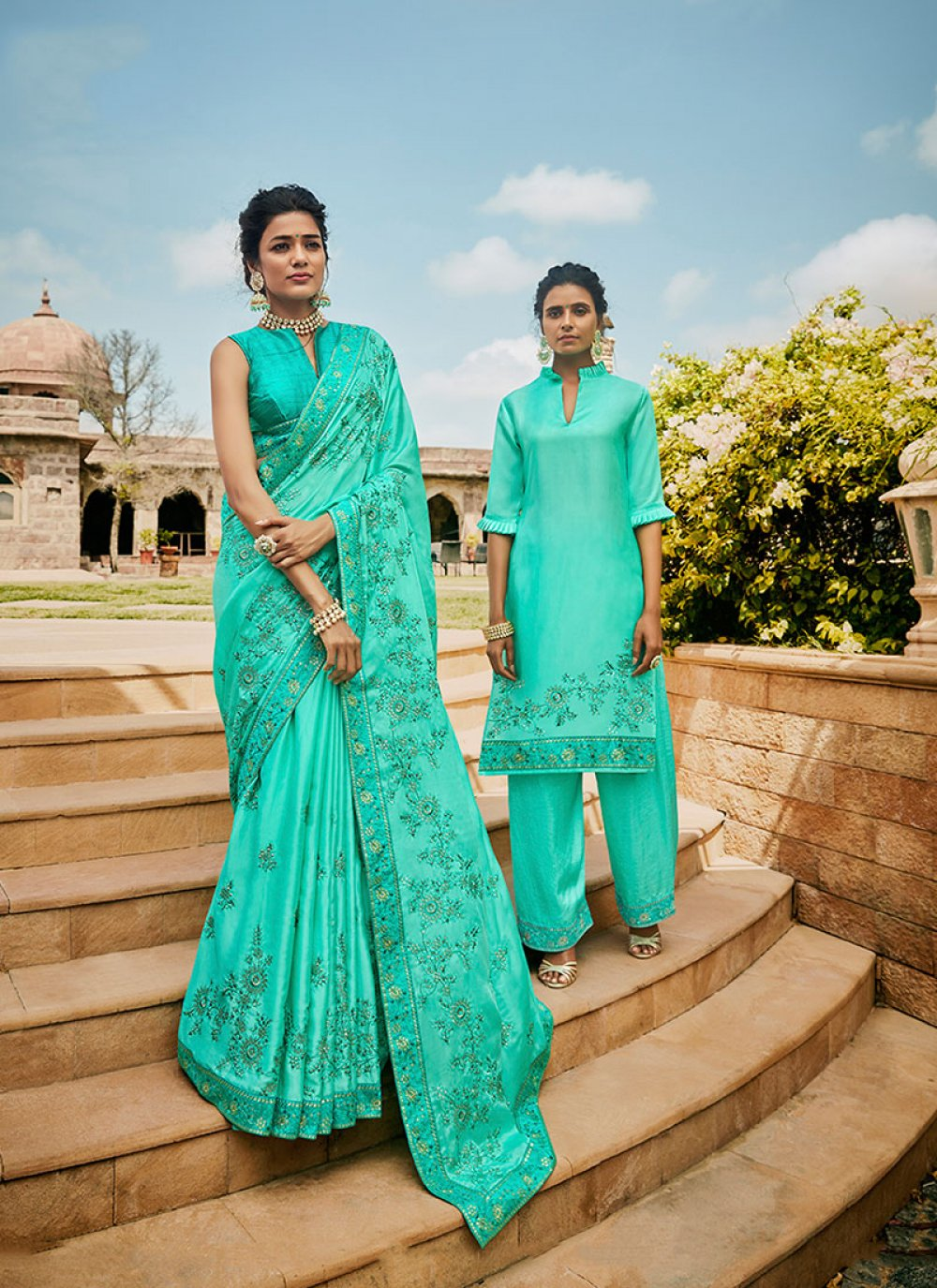 Satin Sea Green Embroidered Traditional Designer Saree