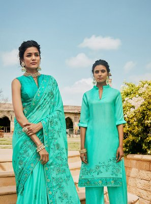 Satin Sea Green Embroidered Traditional Designer Saree
