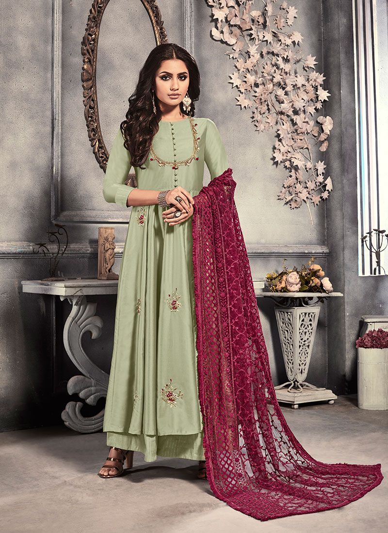 Satin Sea Green Salwar Kameez