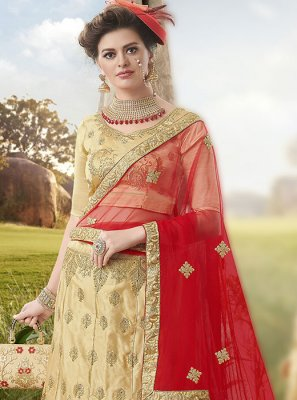 Satin Silk A Line Lehenga Choli in Beige