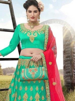 Satin Silk A Line Lehenga Choli in Green