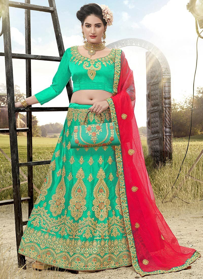 Satin Silk A Line Lehenga Choli in Green