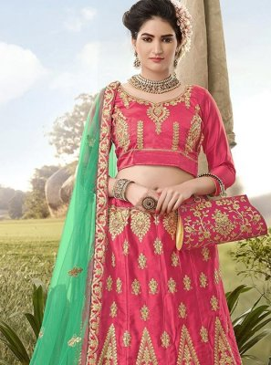 Satin Silk A Line Lehenga Choli in Pink
