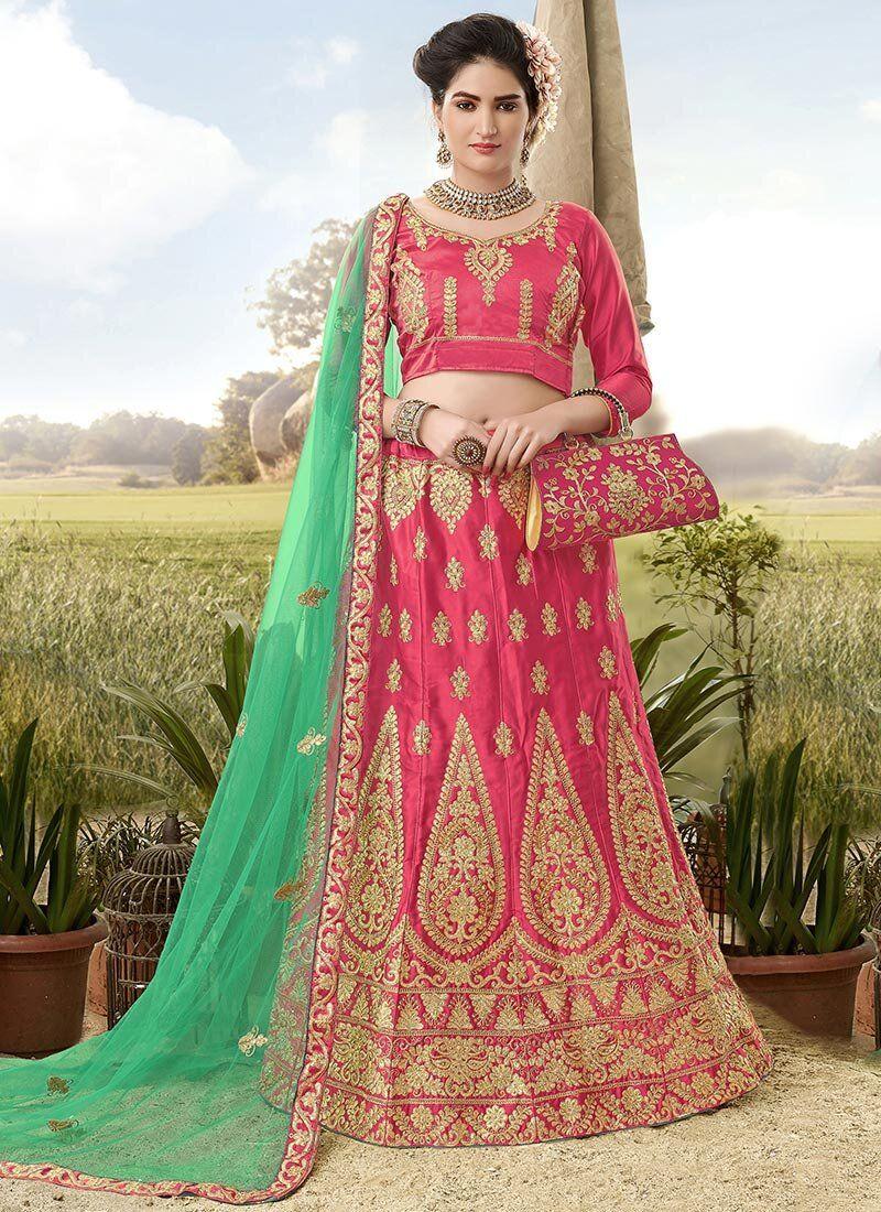 Satin Silk A Line Lehenga Choli in Pink