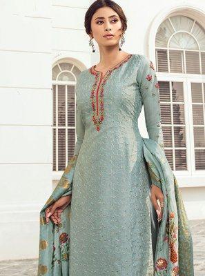 Satin Silk Aqua Blue Resham Salwar Kameez