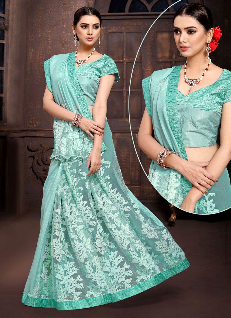 Satin Silk Blue Lehenga Saree