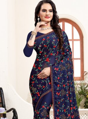 Satin Silk Bollywood Saree in Navy Blue