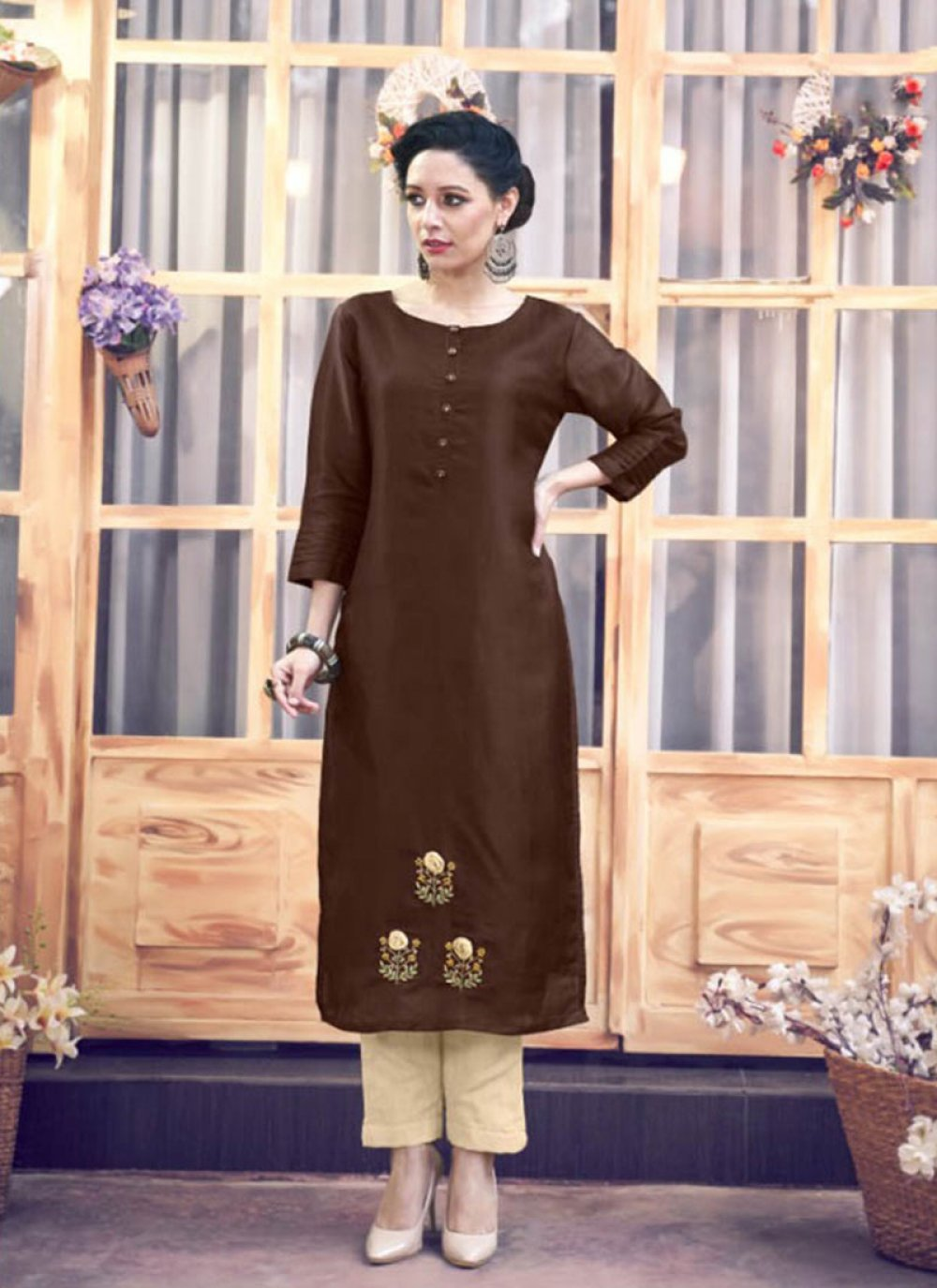 Satin Silk Brown Embroidered Party Wear Kurti