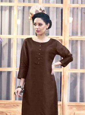 Satin Silk Brown Embroidered Party Wear Kurti