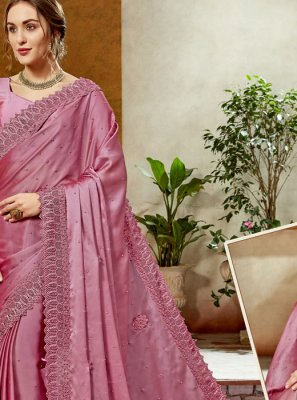 Satin Silk Classic Designer Saree in Hot Pink