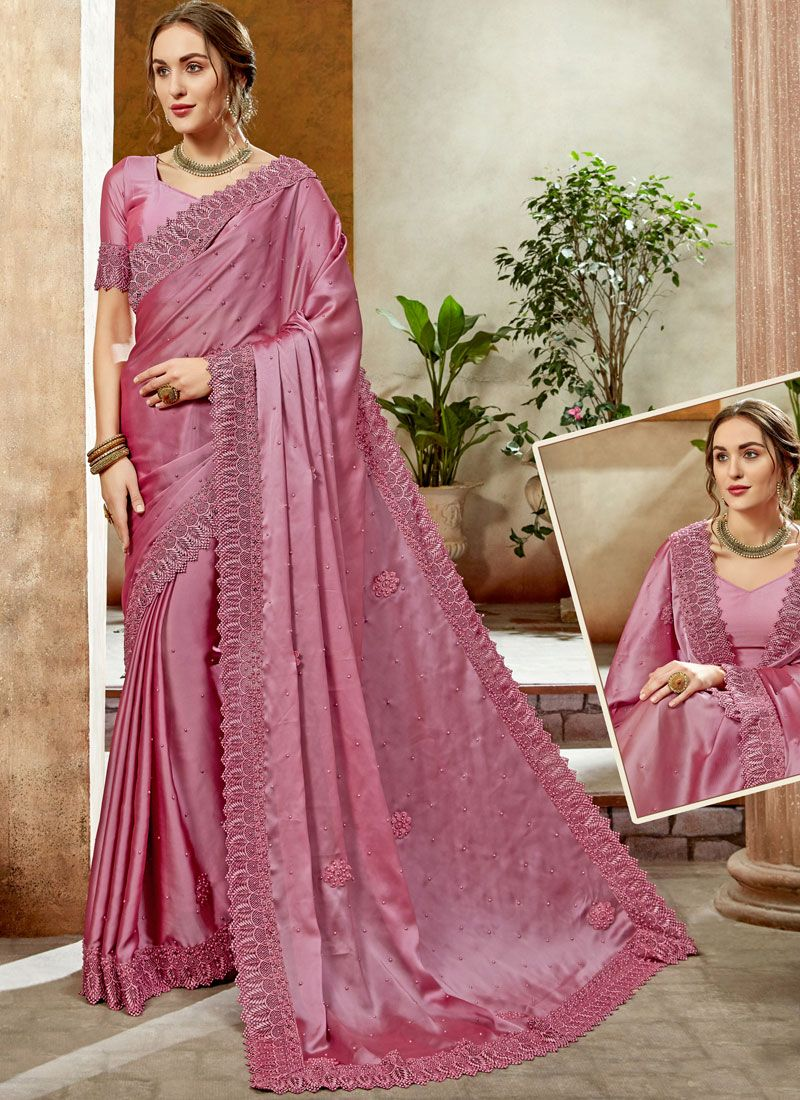 Satin Silk Classic Designer Saree in Hot Pink