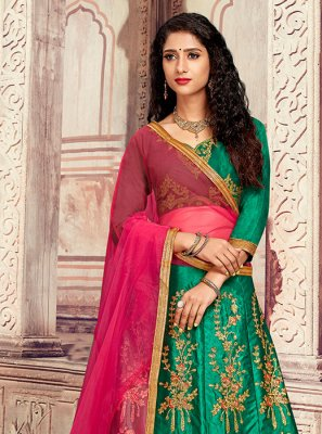 Satin Silk Designer Lehenga Choli in Green